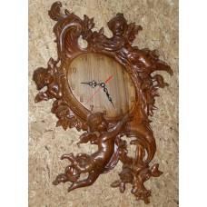 Годинники настінні з горіха «Ангели» (кварцові)