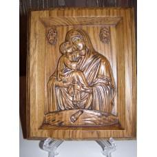 Икона резная  -  «Божией Матери «Почаевская» (200*150 мм)