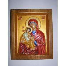 Ікона різьблена - «Божа Матір «Володимирська» ручний розпис. (200 * 150 мм)