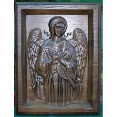 """Дерев'яна ікона, різьблення по дереву - """"Ангел Охоронець"""""""