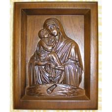 Ікона дерев'яна, різьблена «Божої Матері« Почаївська»