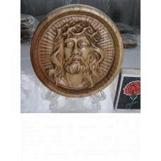 Ікона кругла на підставці - Ісус в терновому вінку (дуб)