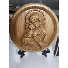 Ікона кругла на підставці - Володимирська Божої Матері