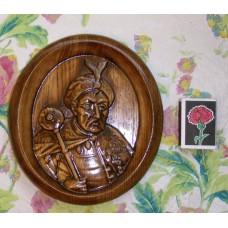 Різьблена картина - Портрет Богдана Хмельницького (середній, на підставці)