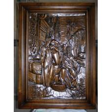 Картина дерев'яна - Ісус і самарянка