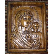 """Дерев'яна ікона, різьблення по дереву - """"Божа Матір Казанська"""""""